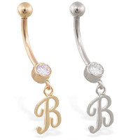 14K solid gold belly ring with dangling script initial B, Yellow, Rose, or White gold. Free Shipping
