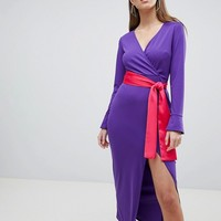 ASOS DESIGN Maxi Dress With Long Sleeve And Contrast Belt at asos.com
