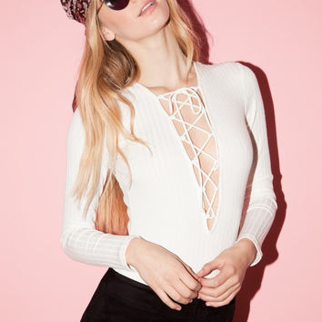 Libra Lace Up Bodysuit Top