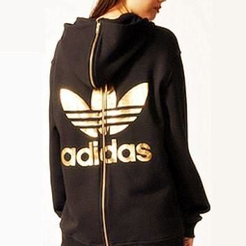 """Adidas"" Hooded Top Women Fashion Pullover Sweater Sweatshirt Hoodie Black"