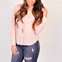* Rosalina Slouchy Waffle Knit Hi-Low Top : Dusty Pink