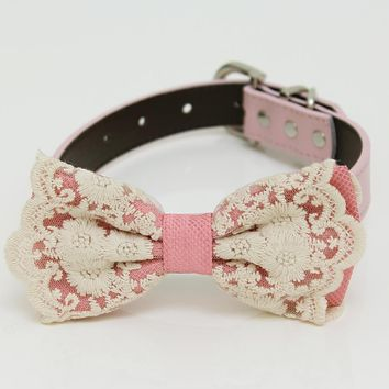 Dusty rose lace Bow tie collar, Bow attach to Ivory, brown, Copper, Champagne, pink, gray or white leather collar, handmade, girl collar