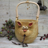 Yarn bowl - Yarn Holder - LARGE Knitting Bowl with Cute Cat Mouth - handmade ceramic pottery by Heidi