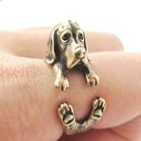 Realistic Basset Hound Shaped Animal Wrap Ring in Brass | Sizes 4 to 8.5
