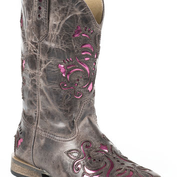Roper Kids Boot Western Sq Toe Leather Fashion Boots Lazer W Pink Metallic Underlay