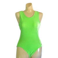 90s Leotard 90s Workout Clothing Lime Green Leotard Velvet Leotard Dance Leotard Women Leotard Dance Costume Workout Gear Spandex Leotard
