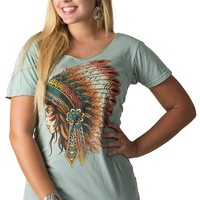 Afflicition Women's Pale Green Gentle Feather Short Sleeve Tee