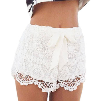Cute Crochet Lace Shorts with Knot Detail - White
