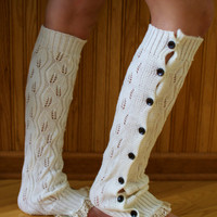 Cream Lace Button Up Leg Warmers