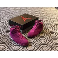air jordan 6 custom wine red men basketball shoes sneaker