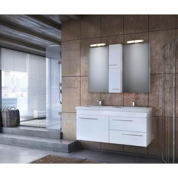 "DP Wall Bath Vanity Cabinet Set 47.2"" Double Sink W/ White Gloss Lacquer Finish"