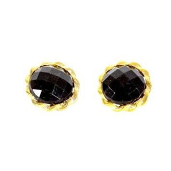Crystal Circle Earrings Black Studs Statement EF32 Fashion Jewelry