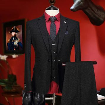 men suit new arrivals retro black wedding groom wear fashion suits set 3 pieces blazer vest pant single breasted tuxedo slim fit