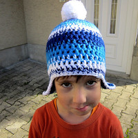 Boys blue hat, Kids hat crochet,Chunky beanie blue,Ski beanie blue,Blue hat ear flaps,Blue winter beanie,Pom pom hat stripes,Beanie hat blue