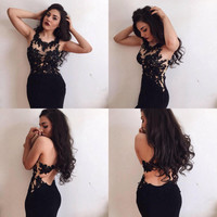 Black Sheath Backless Lace Prom Dresses