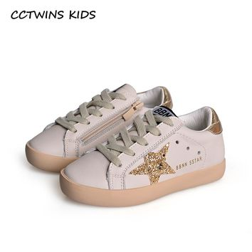 CCTWINS KIDS 2018 New Fashion Baby Girl Sport Star Gold Shoe Kid Glitter Sneaker Children Leather Breathable Trainer FSL2239