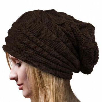 CREYWQA Amazing Lady Crochet Knitted Women Hat Winter Warm Beanie Warm Caps Free Shipping