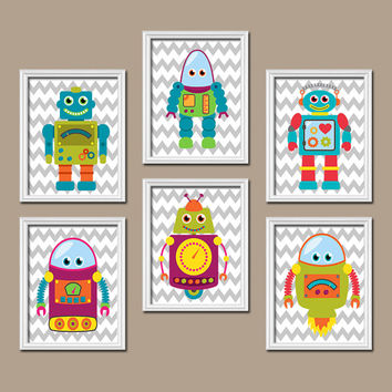 Robot Boy Wall Art Canvas Outer Space Artwork Child Chevron Pattern  Set of 6 Prints Baby Bedroom Decor