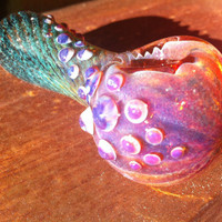 Purple turquoise and black color changing glass pipe