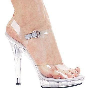 women s shoes 5 inch heel clear sandal 10 clear  number 1
