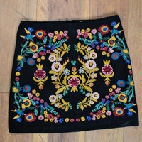 Embroidered Floral Mini-Skirt