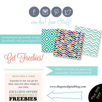 Get Freebies: Free Paper Pack & Clip Art Scrapbooking Supplies for Papercrafting Cardmaking Invite - Digital Download Printable