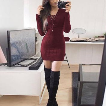 Winter Sexy One Piece Dress [9378269444]