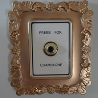 "square Gold frame ""Press for Champagne"" doorbell wall decor"