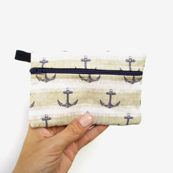 Anchor Coin Purse, Anchor Zip Pouch, Change Purse, Anchor Fabric, Zipper Coin Purse, Nautical Print, Zipper Pouch
