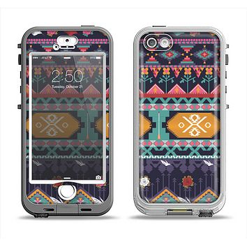 The Vector Purple and Colored Aztec pattern V4 Apple iPhone 5-5s LifeProof Nuud Case Skin Set