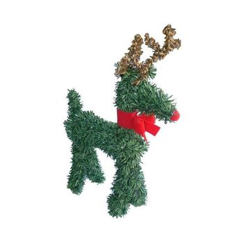 ONETOW 5' Rudolph the Red-Nosed Reindeer with Bow Artificial Pine Christmas Figurine