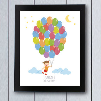 Birthday Guest Book signature Baby Shower guestbook / printable pdf / Babyshower ideas balloon children first years party sign in tree boy