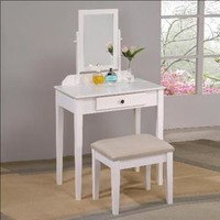 Crown Mark 2208SET Luna Iris White Vanity Table Mirror Stool Set