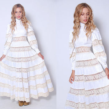 Vintage 70s MEXICAN Wedding Dress White CROCHET Lace Dress Boho WEDDING Dress 70s Maxi Dress