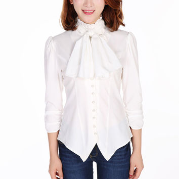 Gothic Victorian Steampunk White Ruffle Tie Neck Rutched Sleeve Blouse