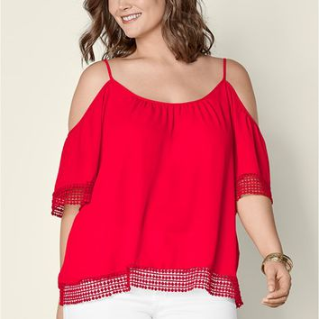 Cold Shoulder Lace Trim Top in Red | VENUS