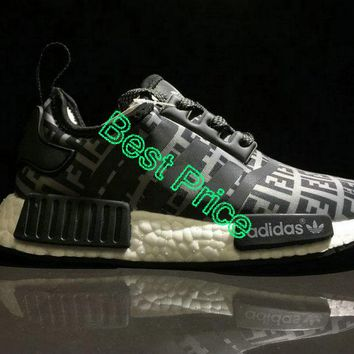 New Arrival Unisex FENDI x Adidas NMD R1 Boost Black Grey White BA7747 newest sneaker
