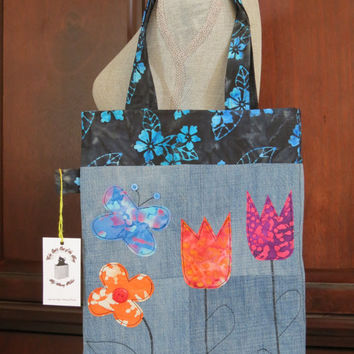 Recycled Denim and Batik Tulip and Butterfly Applique Tote Bag
