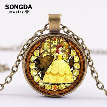 SONGDA Fairy Tale Cartoon Beauty and the Beast Necklace Belle Princess Glass Art Photo Cabochon Pendant Necklace Charm Jewelry
