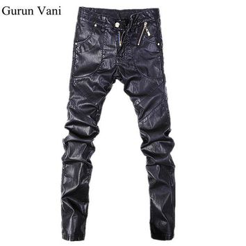 ac NOOW2 New Arrival Men's Skinny Leather Pants Multi Zipper Motorcycle Faux Leather Elasticity Brand Sweatpants Jeans Free Shipping 10-2