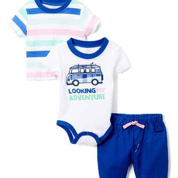 Blue & White Stripe Crewneck Tee Set - Infant