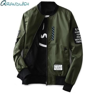 Grandwish Bomber Jacket Men Pilot with Patches Green Both Side Wear Thin Pilot Bomber Jacket Men Wind Breaker Jacket Men,DA113