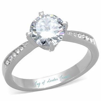 A Perfect 1.7CT Round Cut Russian Lab Diamond Engagement Ring