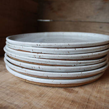 Set of 4 - Dinner Plates - Speckled White - KJ Pottery