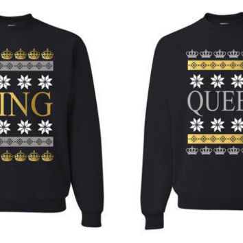 King And Queen Ugly Christmas Sweater Unisex Couple Sweatshirts