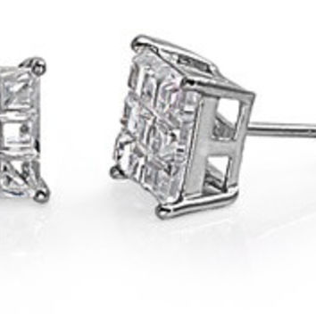 Sterling Silver CZ Rhodium Plated Casting Invisible Square Stud Earrings CZ Diamond April Birthstone