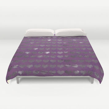 Purple Hearts Photo Bed Cover - Duvet Cover Only - Bed  Spread - Original Art Purple Newspaper Hearts - Made to Order