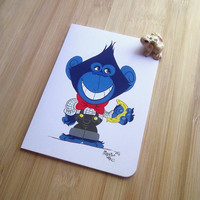 Nerdy chimp greeting card, Gouache animal illustration, Cartoon, Snail mail revival