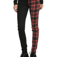 Royal Bones Split Leg Black Red Plaid Skinny Pants