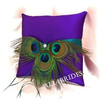 Teal and purple peacock feather ring bearer pillow